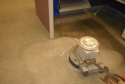 使用棉布墊以畫圓交疊之方式清洗地毯圬漬